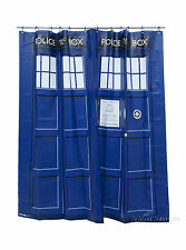 BBC DOCTOR DR WHO BLUE VINYL TARDIS BATHROOM SHOWER CURTAIN & 12 RINGS + BUTTON
