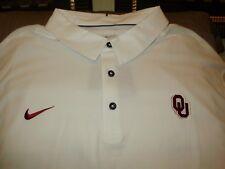 Oklahoma Sooners Nike Dri Fit Elite Coaches White Polo Golf Shirt Men's Large
