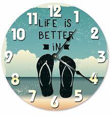 "LIFE IS BETTER In Flip Flops Clock - Large 10.5"" Wall Clock - 2033"
