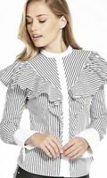 Karen Millen White Black Striped Ruffled Formal Shirt Office Blouse Top 8 To 14