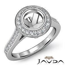 Halo Pave Set Diamond Engagement Bezel Ring Platinum 950 Round Semi Mount 0.47Ct