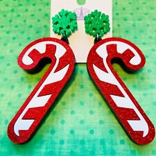 Acrylic drop dangle earrings Christmas glitter candy cane stainless steel stud