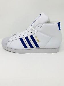 Adidas Originals Pro Model Mid Cut White Royal Blue Casual Shoes Size 11.5