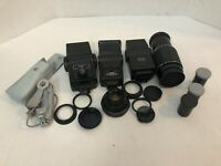 Lot of Vintage Camera Photography Accessories Flashes Lens Film Kenko Vivitar