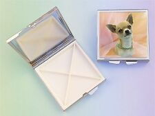 Chihuahua Dog 4 Compartment Square Metal Pill Box by paws2print