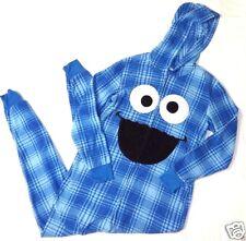 XL (15-17) Cookie Monster Sesame Street Zip front onsie hoodie pajamas fleece