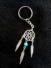 Dream Catcher Keyring Pendant Turquoise Bead Feather Native Key Chain UK