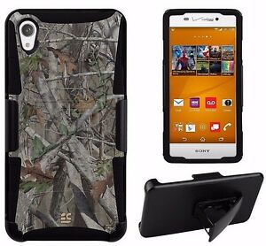 For Sony Xperia Z3 Hybrid Case Armor Clip Holster Autumn Tree Camouflage Cover