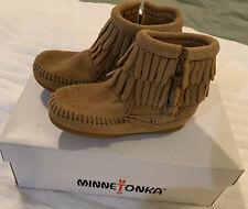 Minnetonka Suede Taupe Kids Double Fringe Side Zip Moccasins Size 7