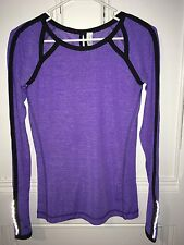 NWOT Lululemon Women Purple Pullover Cutout Chest Back Running Yoga Shirt 2