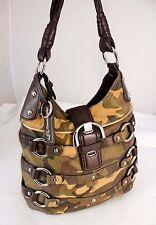 B.MAKOWSKY Camouflage Studded Leather Hobo Shoulder Bag Handbag Purse