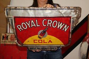 "Rare Vintage 1940's RC Royal Crown Cola Soda Pop 2 Sided 24"" Metal Sign"