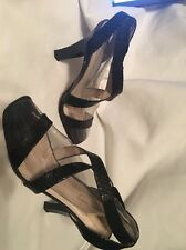 CORSO COMO BLACK LEATHER STRAPPY SANDALS SHOES SIZE 8 1/2 MADE IN BRAZIL