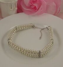 SILVER TONE 3 ROW WHITE FAUX PEARL DIAMANTE CRYSTAL CHOKER/NECKLACE EARRINGS SET