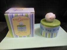 Gorham Merry Go Round Little Boy Blue Trinket Box w/Sheep, Blue Green Stripes