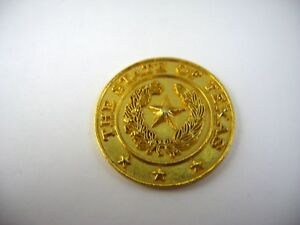 Vintage Collectible Medal Coin: The State of Texas Star Center Gold Tone