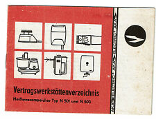 Veretragswerkstättenverzeichnis f. DDR-Heißwasserspeicher N501 u.N503