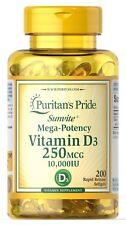 Puritan's Pride Sunvite Mega-Potency Vitamin D3 10000 IU 200 Softgels 250 mcg
