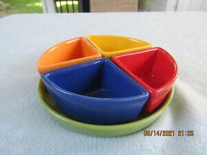 Housewares International Ceramics 5 Piece pie shaped Lazy Susan Fiesta