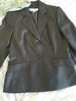 Womens Jones New York Suit Jacket Black charcoal blazer 10 Business Office scarf
