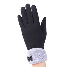 Women Lady Bow Knot Velvet Gloves Outdoor Driving Touch Screen Keep Warm Mittens