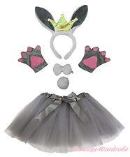 Gray Crown Bunny Rabbit Headband Bow Tail Paw Gauze Skirt 5pc Kids Party Costume