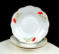 "ASIAN PORCELAIN RED & YELLOW FLORAL SCALLOPED 3 PIECE 8"" SOUP BOWLS"