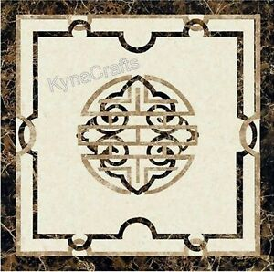 Brown Marble Coffee Table Top Pietra Dura Art Sofa Table for Hallway 20 Inches