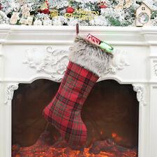 Plaid Print Plush Christmas Stocking Gift Candy Bag Pouch Home Xmas Tree Decor