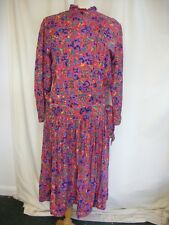 Ladies Dress Monsoon red/purple floral viscose, UK 12 EU 38, vintage 1980s 2372