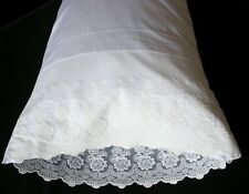 New White Embroidered Lace PillowCases Standard Queen King Cotton Sateen Pair 1#