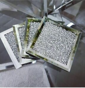 Set of4 silver crushed mirrored crystal Coasters sparkle Dining Table Easter2021