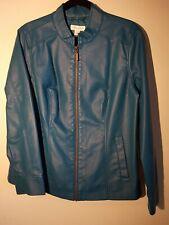 NWOT Christopher & Banks Leather Jacket Women's Size Large - TEAL BLUE
