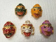 Thai King of Art Khon Mask Set of 5 Pieces Lovely Colors Key Chains Collectible