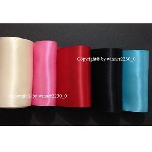 "4"" 10cm 100mm Wide Premium Double Face Satin Ribbon Woven Edge BLACK HOT PINK"