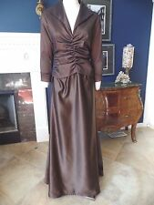 TADASHI Brown Taffeta/Satin Ruched 3/4 Sleeve Evening Gown Dress 12