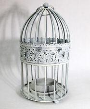 Cage Blanc Shabby 17 cm métal cage pour oiseaux Porte-bougies