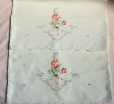 More details for vintage pair of 100% cotton white pillow case - red floral embroidered