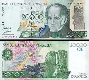 Venezuela 20000 Bolivares 1998, LOW SERIAL A 00000846, First 1000, UNC, P-82