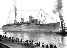 Photo: 5x7: Troopship Queen Mary After WW2 At Ocean Dock - August 11, 1945