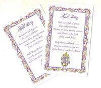 Hail Mary prayer card (Lot of 2) Laminated catholic prayer cards