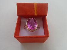Vintage Soviet Rose Gold Ring 14K 583 Pink Ruby Size 9.5 (19.5 mm) Russian USSR