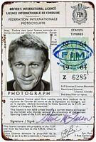 """Steve McQueen Motorcycle License Vintage Metal Sign 8"""" x 12"""""""