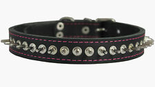 """Real Leather Spikes Dog Collar 17""""-21"""" neck size 1"""" wide Akita Husky Puitbull"""