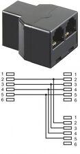 telefon adapter T verteiler 6p4c rj11 splitter 1x buchse an 2x buchsen schwarz
