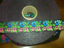 """Black with pink & blue flowers ribbons-1 1/4"""" x 50 yds"""