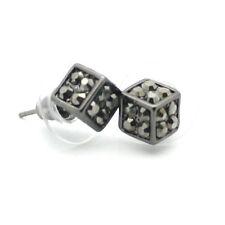 Gun Metal Dice 3D Square Stud Earrings in Gift Case Crystal Stones 9mm Jewelry