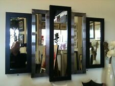 NEW LARGE BLACK/SILVER HARMONY PANEL MIRROR 105 X 76 CM