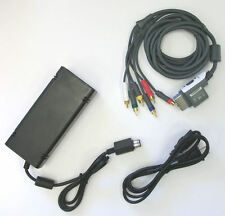 OEM XBox 360 S 360 Slim Power Supply & HD AV Component Cable Hookup Connections