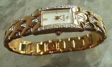 New battery!! 2005 Bulova Crystal  98T91 Gold Plated W/ Crystals Bracelet Watch